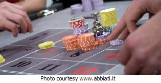 Casino roulette table, players win.