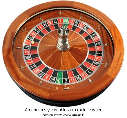 American style roulette wheel with double zero, 0-00.