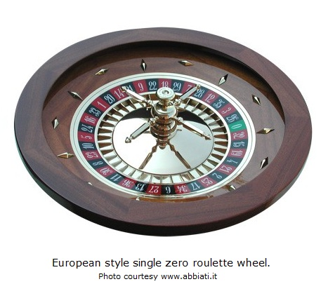 European style roulette wheel with a single zero, 0.